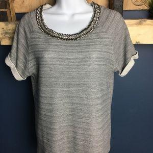 Tops - Jeweled Collar Short Sleeve Shirt